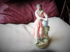 LOVELY OLD CHINA FIGURINE VICTORIAN LADY WITH URN LOVELY SOFT COLOURS 8""